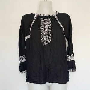 LUCKY BRAND black embroidered blouse Size S